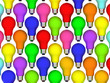 Lightbulbs background of rainbow colours isolated on white