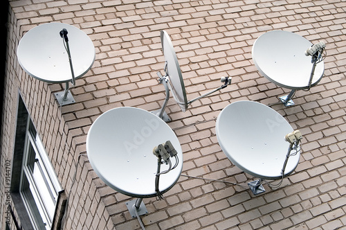 Five satellite antennas on the home front