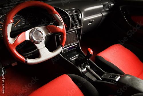 Tuned sport car. Luxury red velvet interior