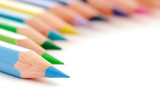 Beautiful composition  of stationery multicolored  pencils poster