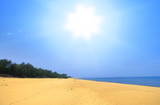 wide empty summer beach with brightly shining sun poster