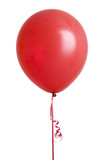Vibrant red balloon isolated on white background poster