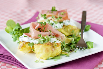 Delicious appetizer with ham and creamcheese