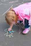 girl with chalk on asphalt poster