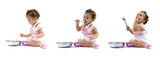 Sequence of Baby eating with spoon . poster