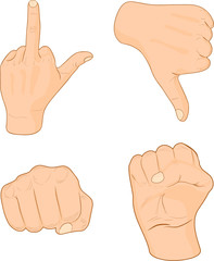 Hand signs.
