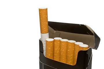 cigarettes in a box on a white background