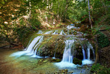 The beautiful waterfall in forest, spring, long exposure poster