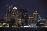 Horizontal image of downtown Boston with water in the foreground poster