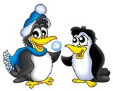 Two penguins with snowball poster