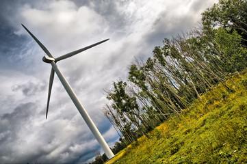 Dramatic wind turbine view