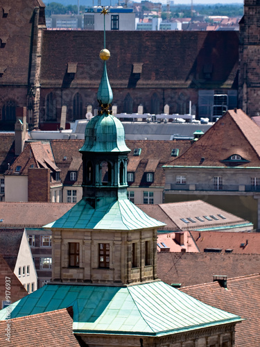 Panorama of Nuremberg, Germany, Europe. Roofs.