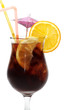 Cool Long Island Iced Tea isolated on a white background.