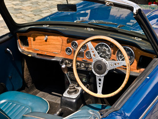 Blue Oldtimer interior. Close up ona a front panel.