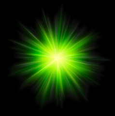 Star burst green on black background