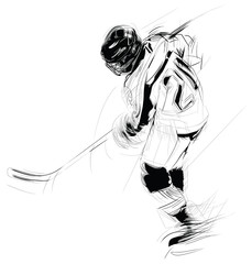 Ink drawing illustration of an ice hickey player