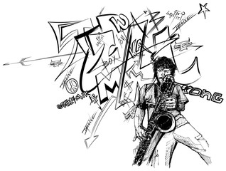 illustration of a jazz saxophonist
