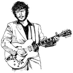 ink drawing vector illustration of a guitar player