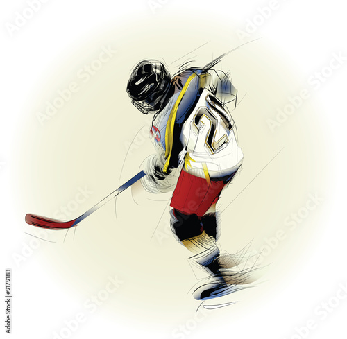 Ink drawing  illustration of an ice hickey player..