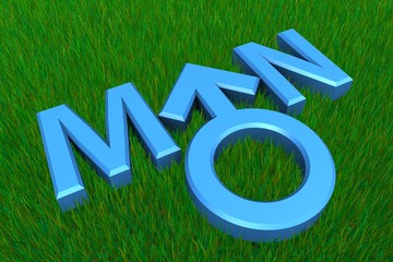 Blue Word Man on Grass/Gender Symbol