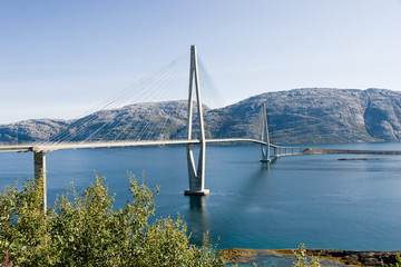 long cable-braced bridge over fjord in Norway
