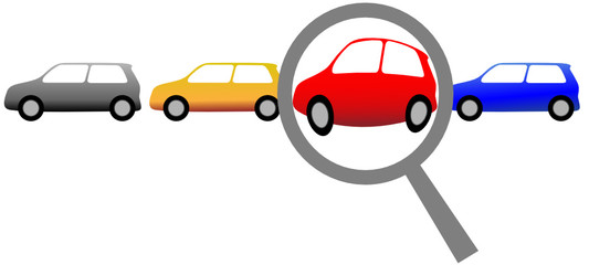 Magnifying Glass to Shop for Car or Inspect Auto Row