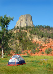Tent camping by Devil's Tower Monument in Wyoming.