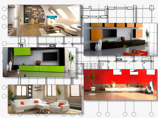 modern interior image set over architecture plan (3D rendering).