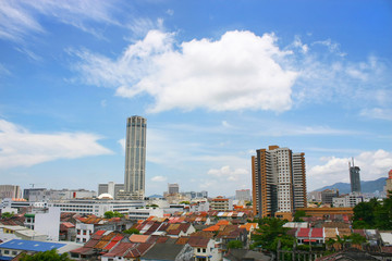 Komtar Tower and cityscape found in Penang, Malaysia.