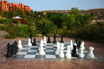 big chess on the garden