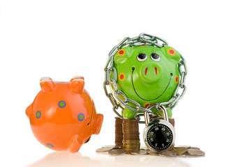 Two piggy banks with lock