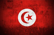 Weathered Flag Of Tunisia, fabric textured