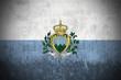 Weathered Flag Of San Marino, fabric textured