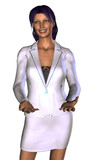 businesswoman in a white costume (sales or hostes) poster