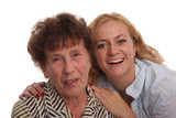 Happiness grandmother and granddaughter on a white background poster