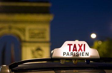 Taxi near the Arc De Triomphe in Paris
