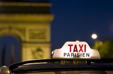 Taxi near the Arc De Triomphe in Paris