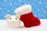 Piggy bank and red stocking sitting on snow with star background