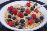 Bowel of fresh fruit & cereal, good heathy start for the day poster