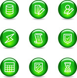Database web icons, green glossy sphere series poster