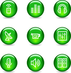 Media web icons, green glossy sphere series