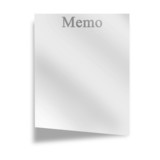 memo on a white background with soft shade poster