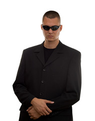 secret agent with glasses studio isolated
