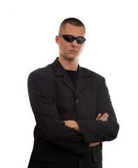 secret agent with glasses studio isolated