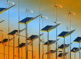 Conserving energy with wind generators and solar panels poster