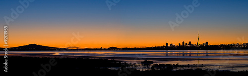 Aluminium Nieuw Zeeland Auckland City Panorama at Sunrise
