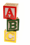 ABC learning blocks isolated over white poster