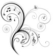 Floral ornament with musical note, vector illustration.