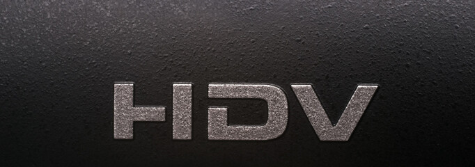 Label on body of HDV camcorder