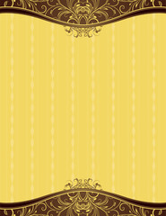 yellow background with decorative ornaments, vector